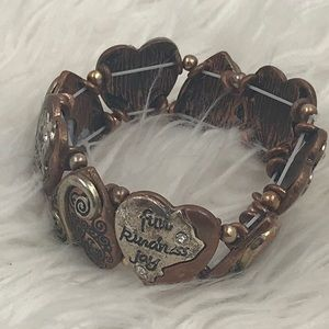 Copper/Silver Tone Stretchy Heart Quote Bracelet